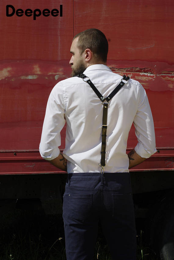 Deepeel1 Pc100-130cm Men's Strap / Ladies' Strap / Leather Suspenders Strap Simple Versatile With Suit Jeans Decoration YK642