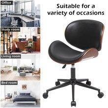 Mid-Century Office Desk Chair Adjustable Black Leather Chrome Base Bent Plywood