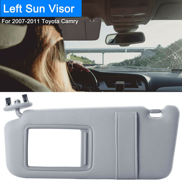 الجانب الأيسر سائق الشمس قناع يصلح ل 2007 2011 تويوتا كامري وتويوتا كامري الهجين دون فتحة سقف والضوء رمادي/أبيض