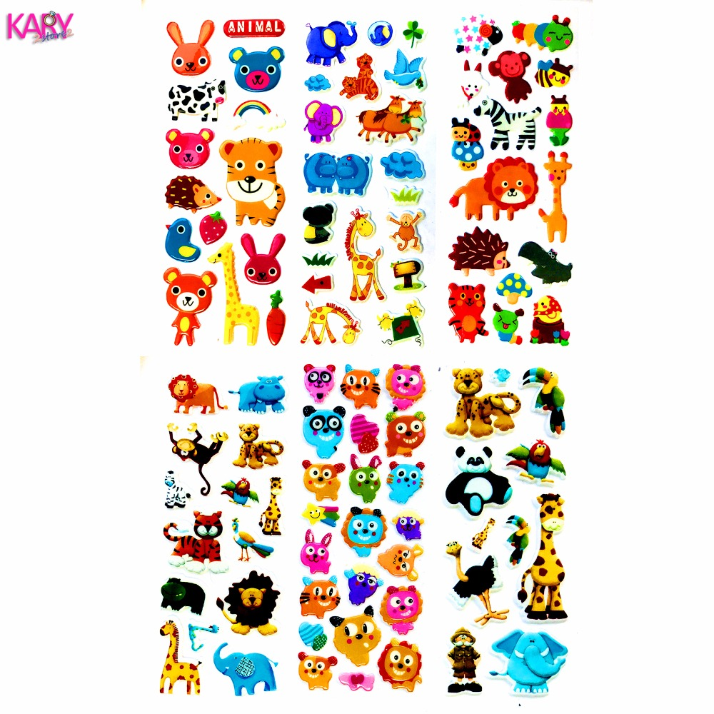 Cute Wildlife Wild Safari Park Animals Scrapbooking Bubble Puffy Stickers 6 Sheets Kawaii Gifts Reward Kids Toys For Children