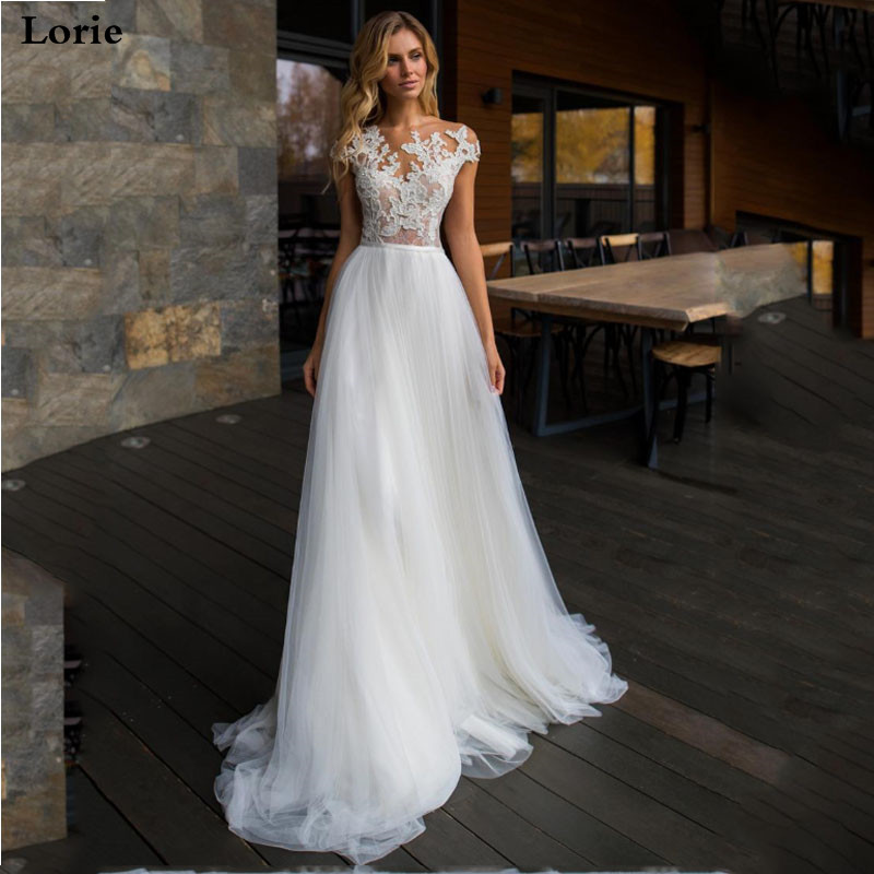 LORIE Beach Wedding Dress Lace Scoop A-Line Appliqued Tulle Floor Length Vintage Bridal Dress 2019 Boho Wedding Gown