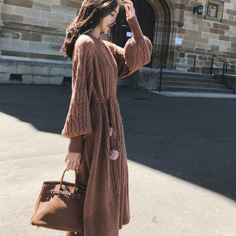 Women Winter Long Twist Knitted Sweater Long Maxi Dress Pullover Straight Loose Vestido Longo Casual Elegant Pull Robe Femme