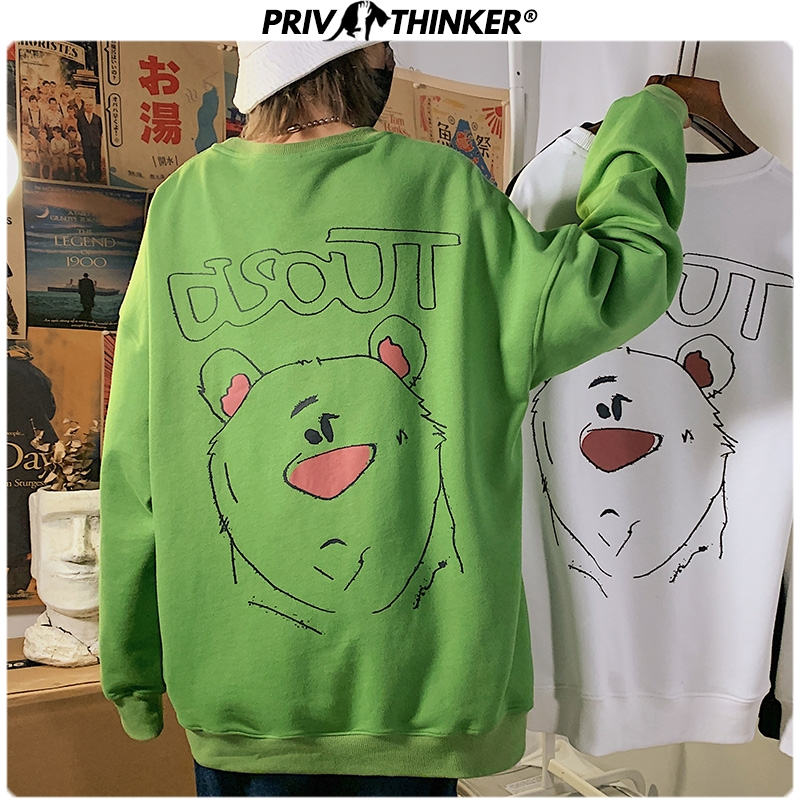 Privathinker Men Woman 3 Colors Spring Hoodies Men 2020 Fashion Carton Print O-Neck Sweatshirt Male Oversize Streetwear Clothing