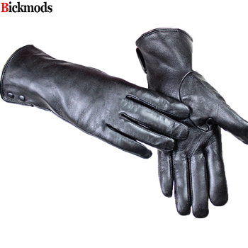 Leather gloves female metal button style velvet lining warm autumn and winter free shipping sheepskin