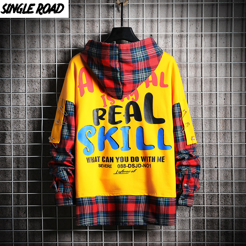 SingleRoad Mens Hoodies 2019 Autumn Men Women Plaid Patchwork Sweatshirt Hip Hop Harajuku Japanese Streetwear Yellow Hoodie Male