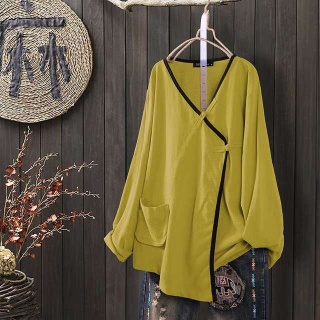 Long Sleeve Linen Blouse  1