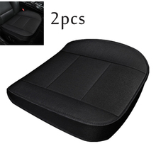 2Pcs Flax Car Front Seat Cushion Cover Black 3D Full surrounded four seasons Universal
