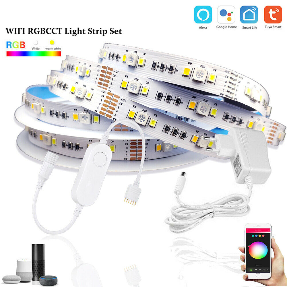 TUYA Smart life APP Wifi RGBCW mini Controller 1-5M DC12V 5050 RGB+CCT 90leds/m LED Strip Light +Power Kit For Alexa Google Home