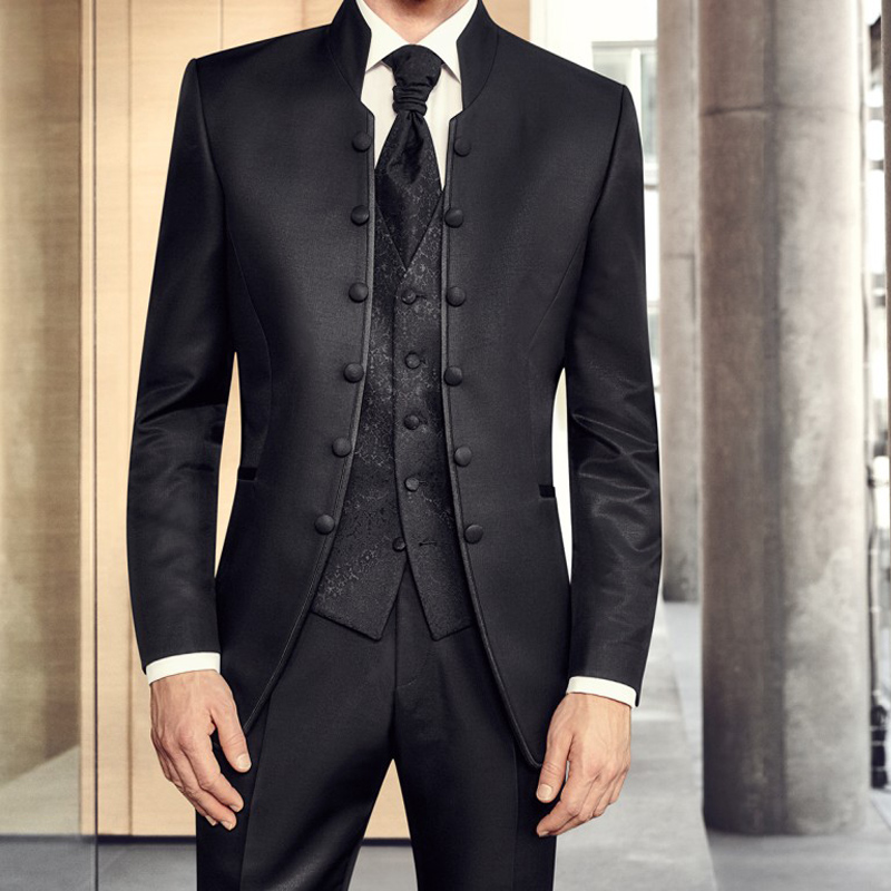 3 piece Black Formal Tunic Suits for Men with Stand Collar Double Breasted Wedding Groom Tuxedo Chinese Style Floral Man Fashion