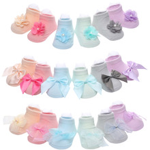 MAYA STEPAN 1 Pair Cotton Spring Flower Bowknot Lace Anti Slip Summer Sock Gift Children Slipper Newborn Baby Girl Kids Sock(China)