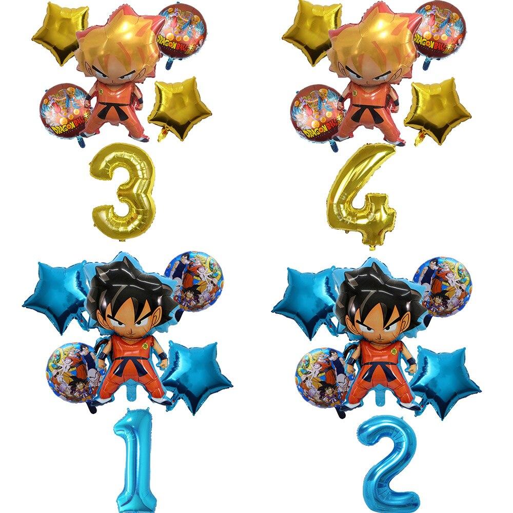 6 шт./компл. Son Goku Мультяшные воздушные шары Saiyan Goku из фольги, украшения для дня рождения, гелиевые шары, детская вечеринка