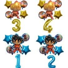 6 pçs/set son goku dos desenhos animados saiyan goku folha balões festa de aniversário decorações globos balões de hélio crianças festa
