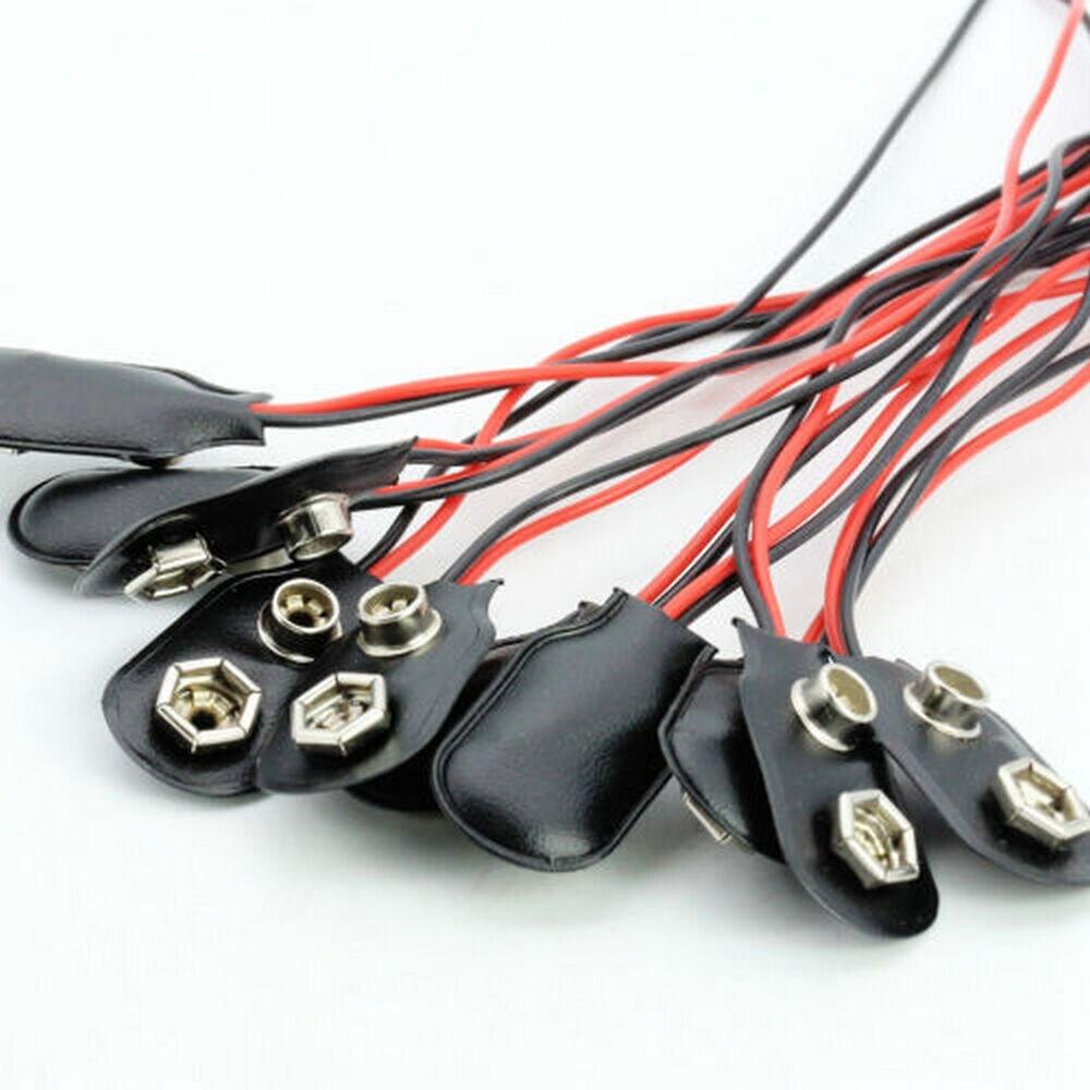 10 шт. оснастки 9 В (9 вольт) батарея клип Разъем I Тип Черный w кабель черный