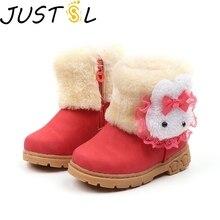 Новые зимние теплые детские теплые ботинки хлопковые ботинки для маленьких мальчиков и девочек Удобная Нескользящая детская обувь с милым кроликом