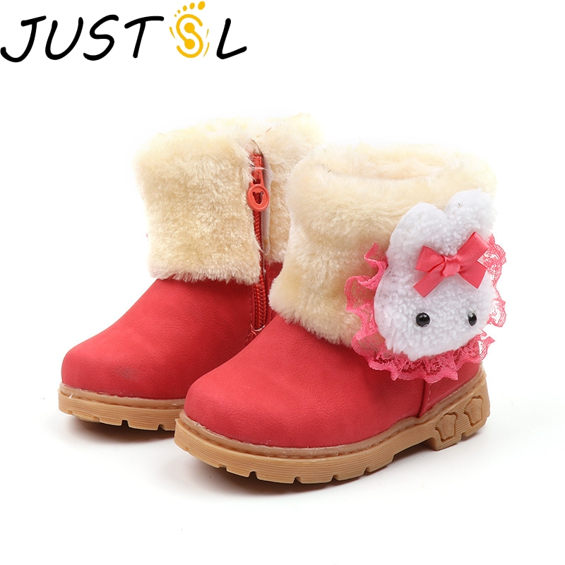 Winter New Children's Keep Warm Snow Boots Baby Girls Boys Toddler Cotton Boots Cute Rabbit Comfortable Kids Non-slip Shoes