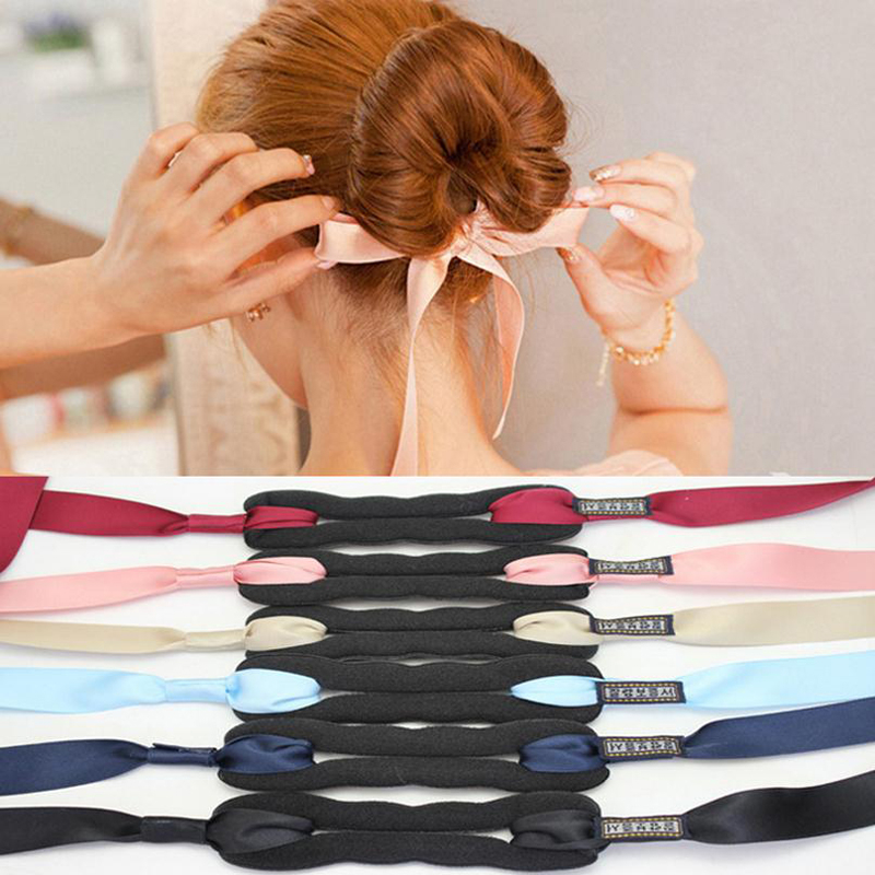 Women Hair Styling Tools Magic Sponge Foam Curler Hair Twist Maker Ribbon Bowknot Hair Bun Maker Fashion Girls Hairstyle