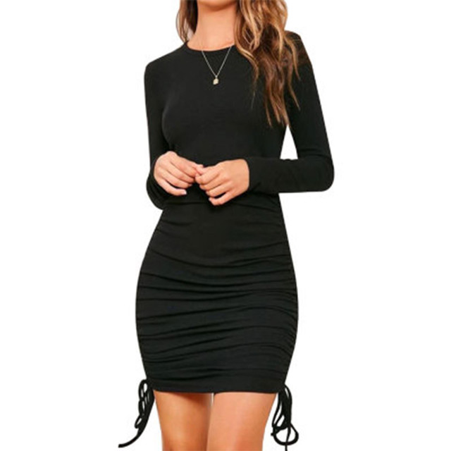 Black Women Bodycon Dress Women Drawstring long Sleeve Mini Party Dress Solid Basic Skinny Casual Dress for women 2