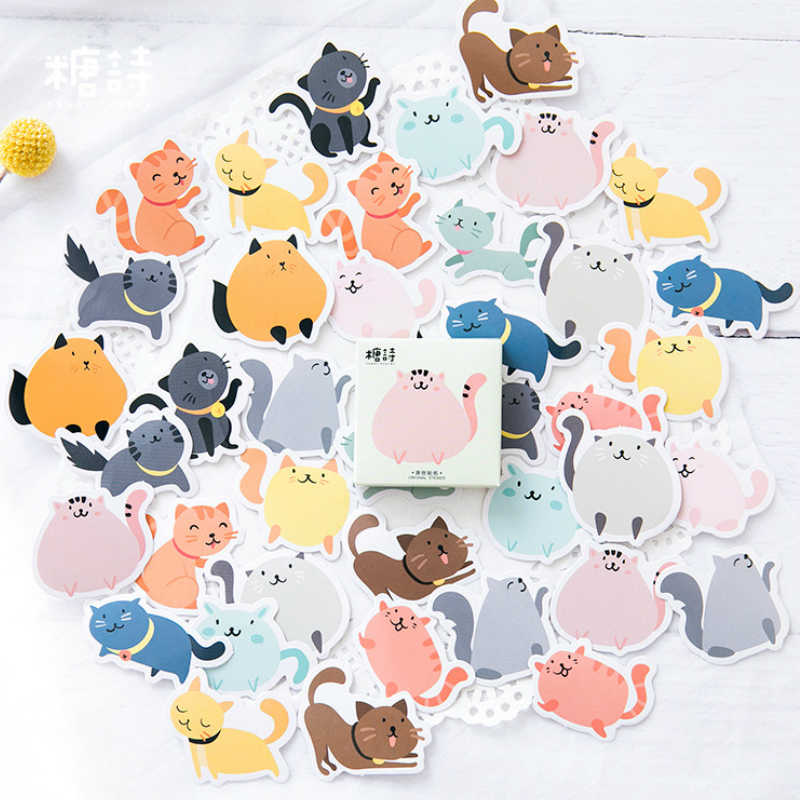 40Pcs/Pack Fat Cat Stationery Stickers Doodling Travel DIY Sticker On The Car Motorcycle Luggage Laptop Bike Scooter Toys