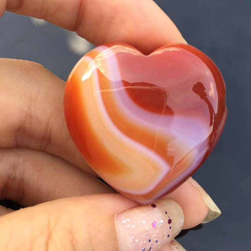 New 1Pc Natural Heart Shaped Stone Rose Quartz Striped Agate Crystal Carved Palm Love Healing Gemstones 2 Sizes XYR
