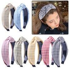 2021 moda laço xadrez bandana para mulheres meninas ampla treliça turbante bandana moda cruz nó faixas de cabelo acessórios para o cabelo