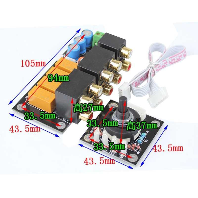 Горячая 3C-RCA аудио переключатель выбор входного сигнала доска Lotus сиденье стерео реле 4-Way аудио вход Селекторное переключение сигнала усилитель DIY