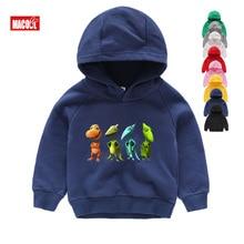 BOYS Long Sleeves Pterosaur Hoodies Boys Cartoon Print Sweatshirts Kids Winter Blue 2T-8T