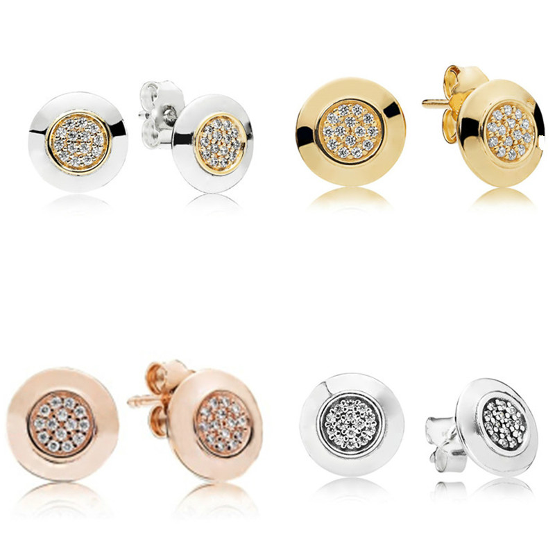 925 Sterling Silver Pan Earring Signature With Crystal Stud Earrings For Women Wedding Party Gift Fashion Jewelry