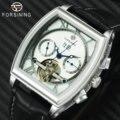Мужские часы FORSINING Tourbillon  механические часы с кожаным ремешком и календарем  розовое золото