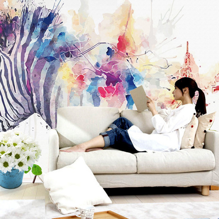 Northern European-Style Abstract Zebra Watercolor Customizable Wallpaper Mural Cool Hand-Painted Art 3D Living Room Television B