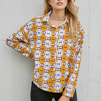 YOMING YM1010 Women Printing Knot Front Blouse Office Elegant Lady Turn-down Collar Long Sleeve Button Shirt Street wear checked knot front shirt