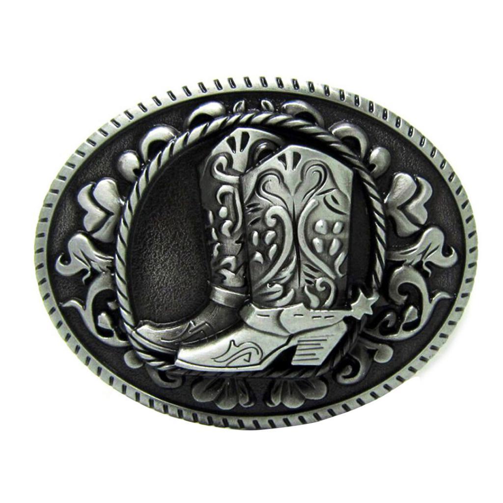 пряжка для ремня мужская Oval Metal Western Cowboy Belt Buckle Shoes Boots Silver Belt Buckle Flower Pattern