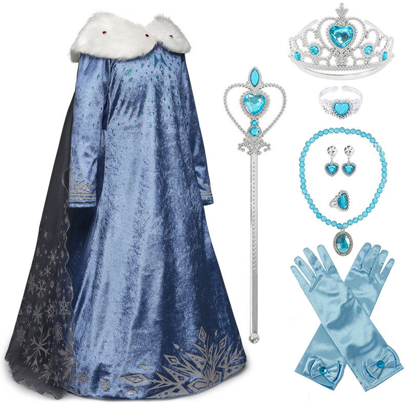 Elsa Dress For Girls Princess Anna Elsa 2 Costumes Party Cosplay Elza Vestidos Hair Accessory Set Children Girls Clothing 3-10T
