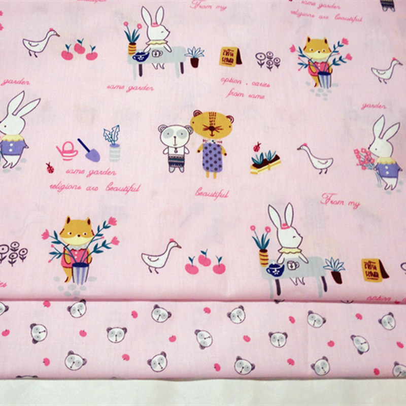 Printing Cute Cat& Rabbit Twill Fabric By Meter Baby Child Soft Pink Breathable for Bedding Apparel Made Dress Supply