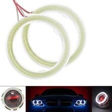 1 זוג בהיר עיני מלאך COB LED אור Halo טבעת נורות עם פלסטיק עבור רכב DRL פנס מנורת DC 12V 24V