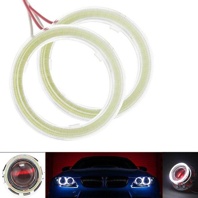 1 쌍 밝은 천사 눈 cob led 빛 헤일로 링 전구 자동차에 대 한 플라스틱 drl 헤드 라이트 램프 dc 12 v 24 v