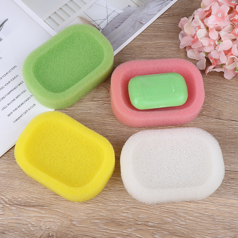 Candy Color Sponge Soap Dishes Plate Color Random Bathroom Hardware Soap Mat Bathroom Decoration