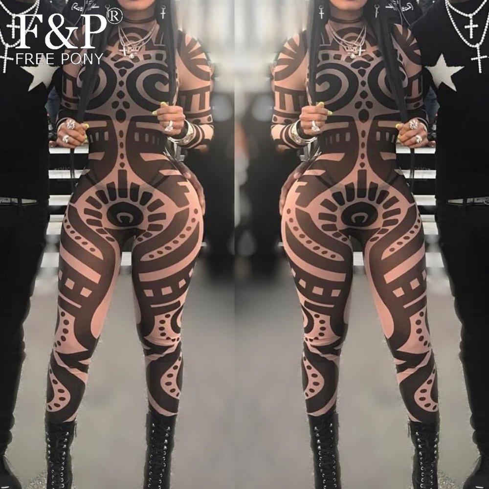 Burning Man Festival Bodysuit  Women Tribal Geometric Tattoo Print Mesh Jumpsuit Curvy African Aztec Bodysuit Celebrity Catsuit