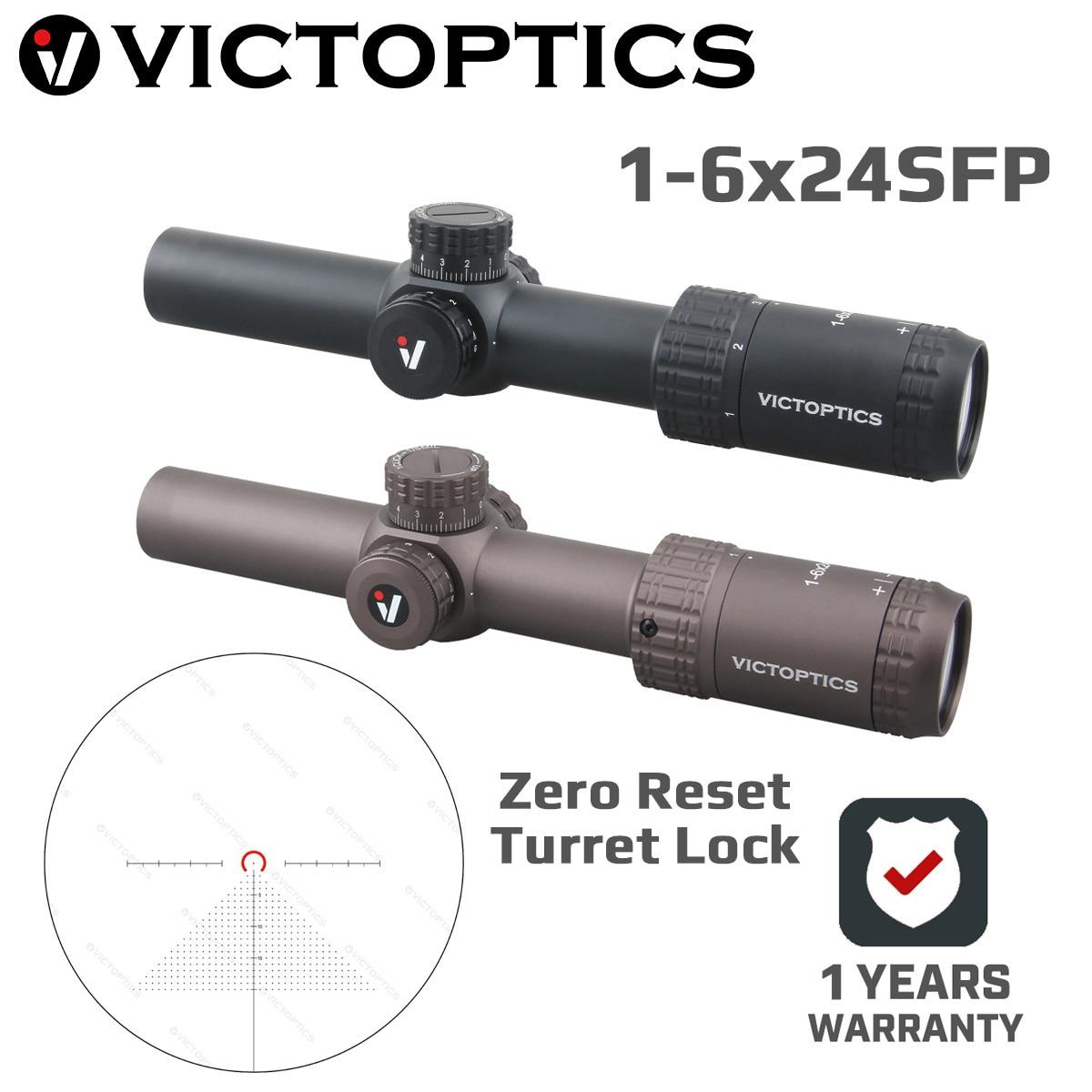 Victoptics agn 1-6x24sfp rifle escopo visão 5 nível de iluminação torreta bloqueio re-definir zero sistema para airsoft rimfire. 177 .223 5.56