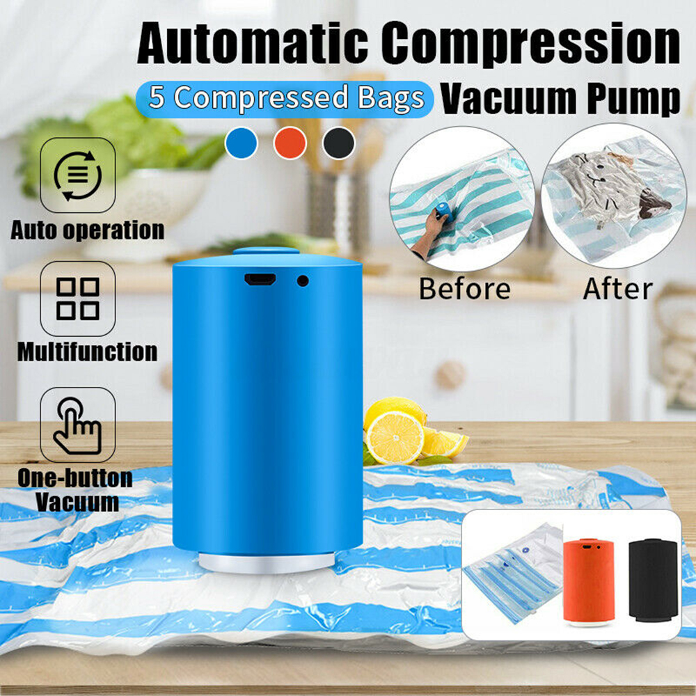 Portable Mini Electric Air Pump Travel Compression Bag USB Charging Vacuum Pump Air Extractor with 5pcs Bags