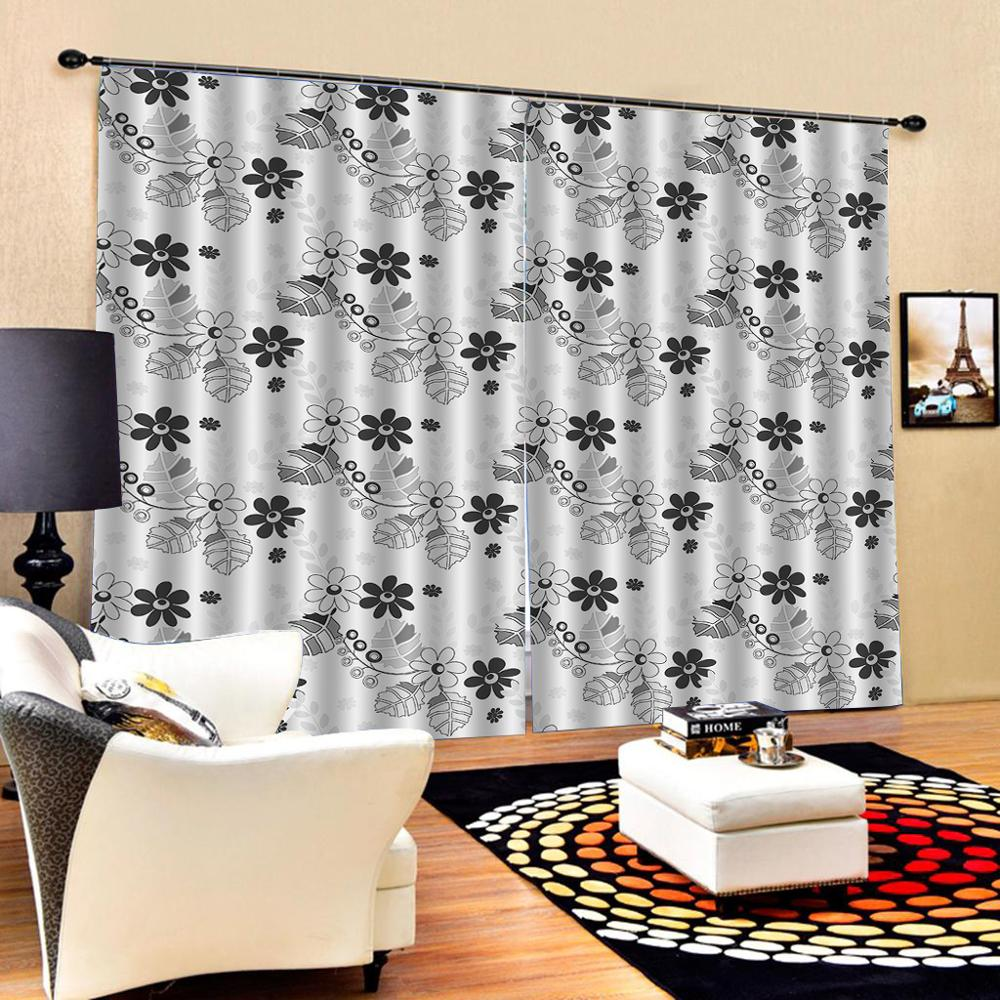 Decoration curtains Beautiful Photo Fashion Customized 3D Curtains grey curtains simple flower curtains