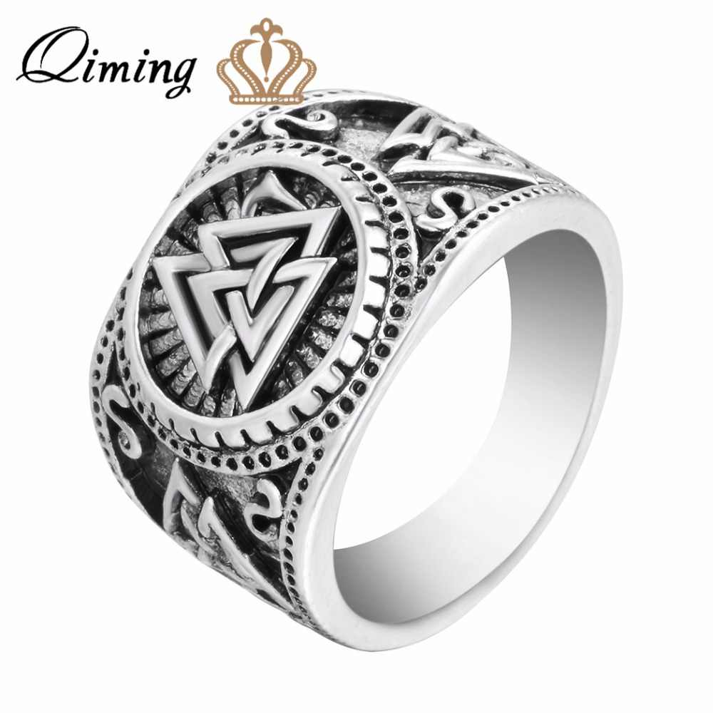 QIMING Vintage New Design Winter Men Ring Jewelry Valknut Viking Signet Ring Viking Rings Viking Jewelry Bijoux
