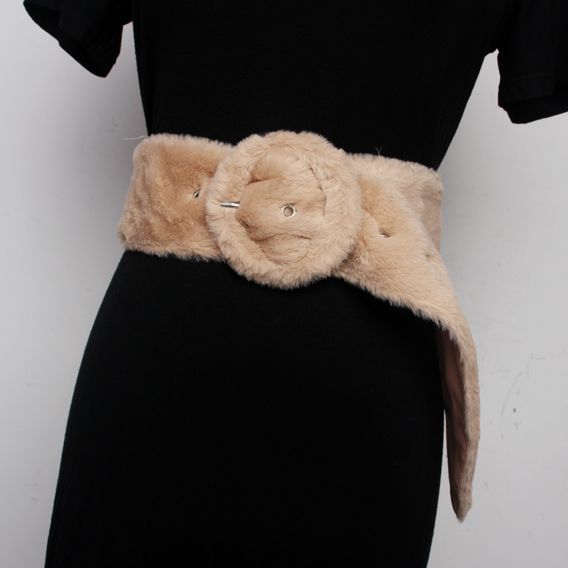 Ms Waist Sealing Round Buckle Plush Belt Women Wide Skirt Fur And All Around Coat Decoration Waist Seal Fashion 4 Colors