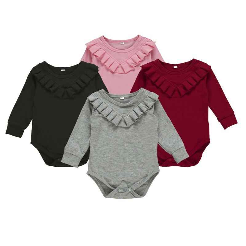Moda recién nacido bebé niña ropa mono Color sólido mono conjunto otoño cuerpo bebé niña traje niñas mono 0- 24M