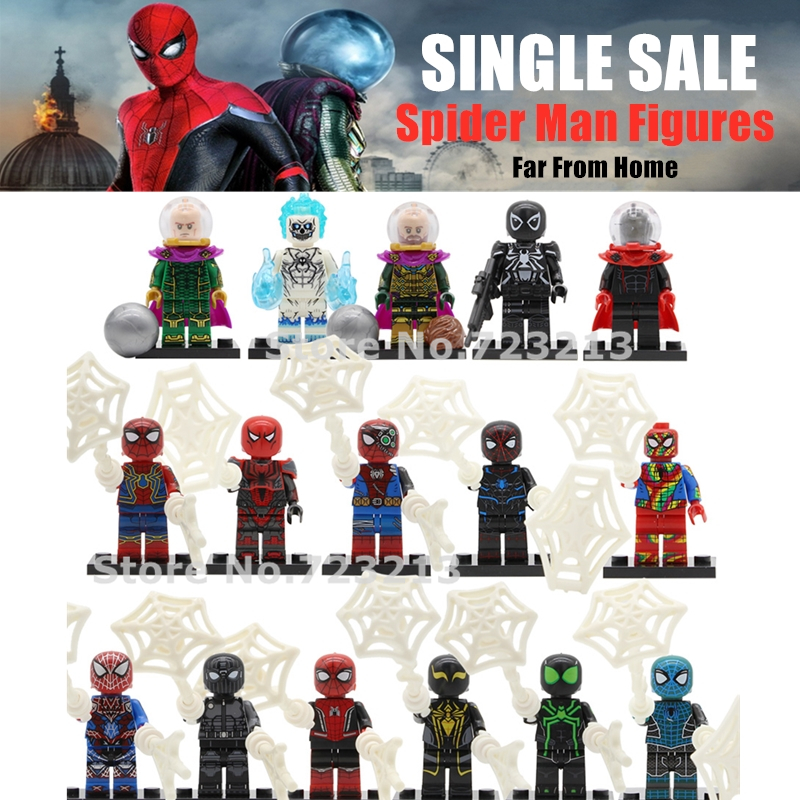 Spider-Man Far From Home Super Heroes Figure Michel Jones Mysterio Peter Parker Agent Spider Man Marvel Building Blocks Toys
