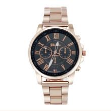 Z cyframi rzymskimi zegarek Geneva kobiety mężczyźni zegarki ze stali nierdzewnej kwarcowy sportowa bransoletka zegar różowe złoto Wrist Watch Reloj Hombre tanie tanio OTOKY 24cm Moda casual QUARTZ Nie wodoodporne Bransoletka zapięcie CN (pochodzenie) STAINLESS STEEL Akrylowe 40mm watches