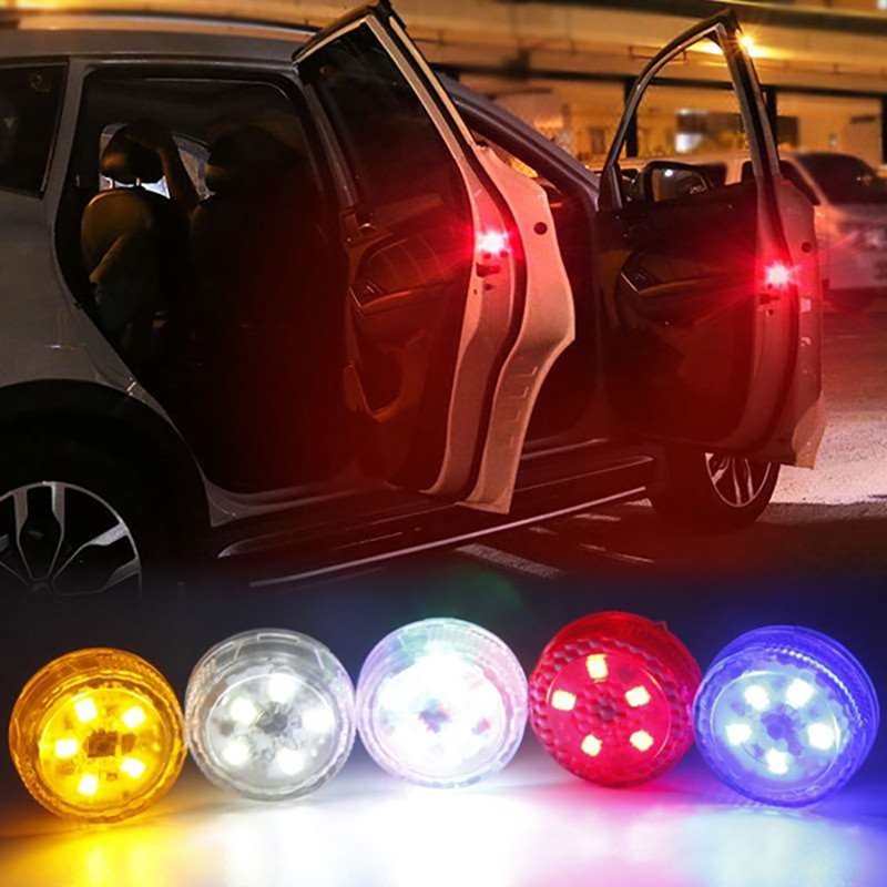 2pcs 5 LEDs Car Openning Door Flash Warn Light Safety Indication Wireless Anti-Collision Signal Light Parking Lamps