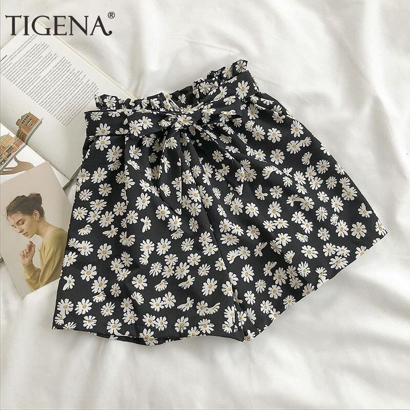 TIGENA Cute Bow Belt Daisy Print Shorts Women 2020 Summer Korean Elastic High Waist Shorts Female Casual Short Pants Women