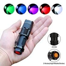 УФ фонарик, мини фонарик Q5, портативный зум, уличный фонарь, водонепроницаемый масштабируемый светодиодный фонарь 14500, лампа АА, белый, зеленый, синий, красный, УФ