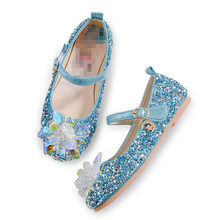 Princess Crystal Shoes Girls Anna Elsa 2 Shoes Sequins Sandals Cosplay Snow Queen Elsa Accessories Kids Birthday Near Year Gift(China)