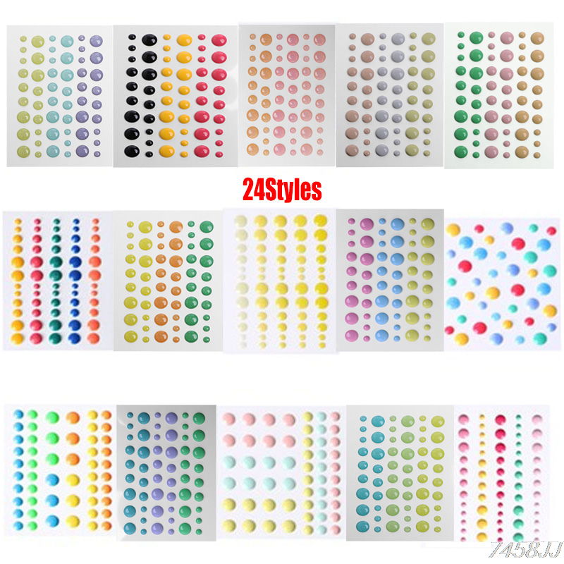 24Styles Enamel Dot Self Adhesive Embellishment Sprinkles Sticker For Cardmaking And Craft Scrapbook DIY Crafts Card Making Deco